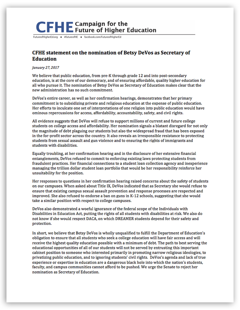 Click here to read CHFE's statement in PDF format.
